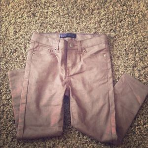 Other - Faux leather sparkly pink jeans